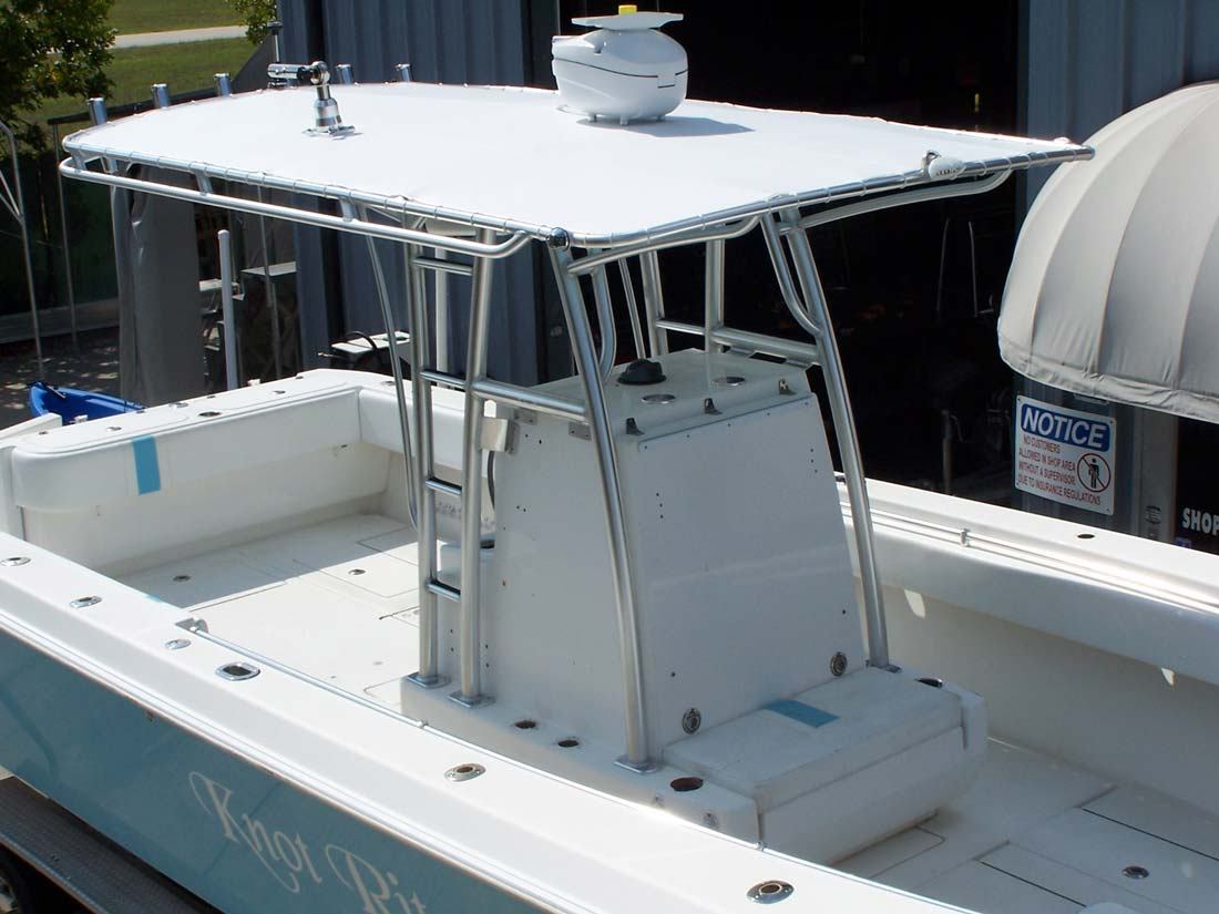 custom marine t tops for center consoles by action welding. Black Bedroom Furniture Sets. Home Design Ideas